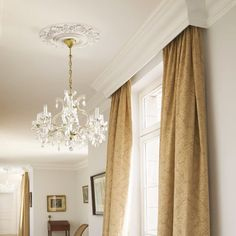 Cornice melds with Ceiling Crown Molding idea - will hide traverse rod with sheers nicely! Bedroom Window Dressing, Home, Ceiling Crown Molding, Curtains, Pelmet Box, Kitchen Window Dressing, Orac Decor, Window Coverings, Ceiling Rose