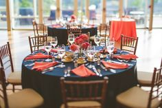 Love, even if chairs are covered. Romantic Coral and Navy Botanical Garden Wedding
