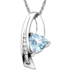 """10k White Gold Aquamarine and Diamond Pendant Necklace, 18"""" Amazon Curated Collection. $205.00. Excellent for all ages and any occasion. Beautifully crafted Aqua and diamond accented pendant finished in high polish 10k white gold. The natural properties and composition of mined gemstones define the unique beauty of each piece. The image may show slight differences to the actual stone in color and texture.. Trendy and tasteful, nice for everyday wear. Made in Thailand"""