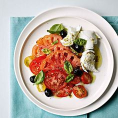 Mozzarella and Tomato Salad:  Farm-fresh tomatoes and creamy mozzarella are an inspired no-cook combo you can serve for lunch or dinner. The key to this dish is to use the best-quality ingredients—don't skimp on the extra virgin olive oil—and adapt it to your taste. We love it with a sprinkling of fresh basil and a few olives. | Health.com