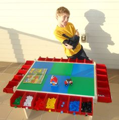 etsy item no longer available but great diy idea. Buckets available at hardware store. diy lego table storage