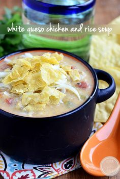 Gluten-free White Queso Chicken and Rice Soup. The blogger says that it tastes like white queso dip. Creamy, cheesy and delicious.