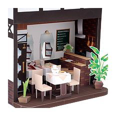 Doll House Western shop (entrance door kitchen counter table chair menu blackboard fried shrimp meal children lunch omelet) free material download | Paper Museum
