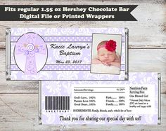 Purple Damask Christening Candy Wrapper Baptism by PartiesR4Fun