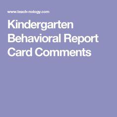 Kindergarten Report Card Comments  Paragraphs  Kindergarten