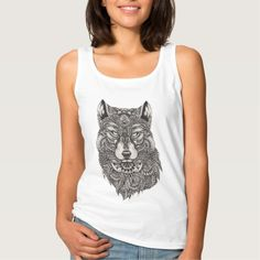 Wolf With Green Eyes Detailed Illustration Basic Tank Top Tank Tops