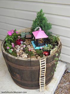 """Making Our Very Own Fairy Garden Using Popsicle Sticks  ~FENCE PANELS:  For each panel, you will need:  *7 popsicle sticks  *wood glue (outdoor safe)  ~LADDER Materials:  *16 Popsicle sticks  *1/2"""" diameter dowel rod  *Safety wire  *Wood glue"""