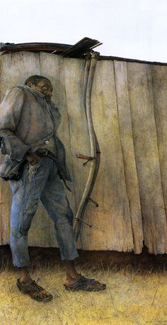 """Andrew Wyeth's """"James Loper"""", 1952 """"He's one of the people I grew up with in Chadd's Ford. His belt was a horse's harness, and his shoes were cut out to get air. Here he is with that scythe staring off into the distance like the silent film star John Gilbert."""" - Andrew Wyeth"""