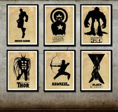 Avengers Poster Set 6 posters 12x16 Printed on Canvas Captain America Iron Man Hulk Thor Hawyeye Black Widow. $60.00, via Etsy.