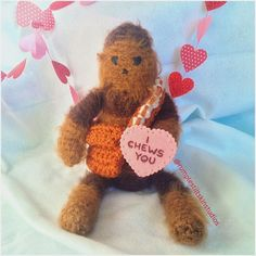 Cute DIY Crochet idea for a Valentines gift from Instagrammer @rumplestiltskinstudios! Felted Chewbacca! #crafts #diy #valentinesday #starwars #chewbacca #instagram