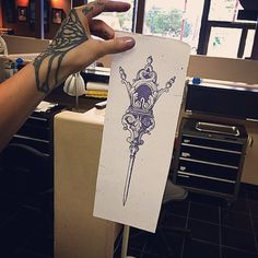 At work at @outerlimitscostamesa with @russtat2 @andrewbtattooer and @greggthepiercer AND I have this design free to be tattooed. I have recently freed spot next Tuesday 1pm and Wednesday 11am. Contact me via Sara.fabel.tattoo@gmail.com with subject line TUESDAY/WEDNESDAY SPOT.