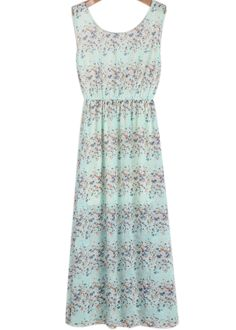 Green Sleeveless Floral Maxi Chiffon Dress -  #berlinmo See more of today's top street fashion here