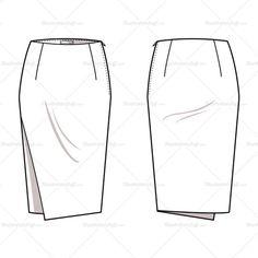 Women's Asymmetrical Pencil Skirt Fashion Flat Template
