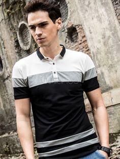 Polo De fibras de color-blocking de algodón de cuello vuelto con manga corta estilo moderno Moldelo Slim estilo street wear