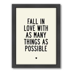 """Americanflat Motivated Type """"Fall In Love"""" Framed Wall Art"""