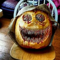 BOO! Awesome scary pumpkin! From the Death Wish Coffee fb page. By Krista of Saratoga Coffee Co. Oct. 30, 2013