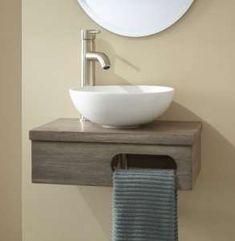 wall mount vessel vanity with towel