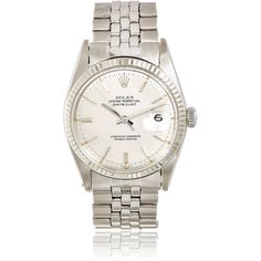 Vintage Watch Women's Vintage Oyster Perpetual Datejust Watch (18,285 ILS) ❤ liked on Polyvore featuring jewelry, watches, silver, stainless steel watches, vintage wristwatches, vintage jewelry, vintage jewellery and dial watches