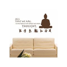 "Style and Apply Buddha Quote Wall Decal Color: Beige, Size: 35"" H x 68"" W"