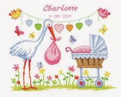 Stork and Pram Birth Sampler from Vervaco counted cross stitch kit. Baby Cross Stitch Patterns, Cross Stitch Baby, Counted Cross Stitch Kits, Baby Patterns, Cross Stitching, Cross Stitch Embroidery, Embroidery Patterns, New Baby Products, Creations