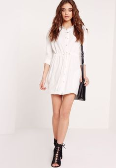 We're crushin' on shirt dresses right now, so get your piece of the action in this crisp white beaut. Featuring a toggle waist fastening, long sleeved detail and in a classic shade, simply team this with a pair of barely there heels and an ...