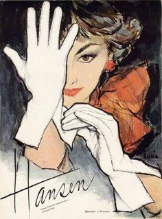 Illustration by Lucia, 1957, Hansen Gloves ad., Milwaukee, Wisconsin.