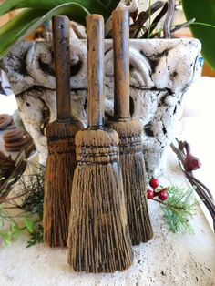 3 Primitive Blackened Beeswax WITCH BROOMS Ornament Folk Art Halloween Casting Black Beeswax Wax