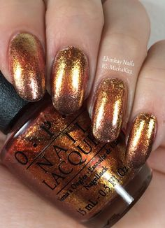 ehmkay nails: OPI Fall Flake Gradient with Goldeneye, A Woman's Prague-Ative, and Warm and Fozzie