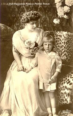 Queen Marie of Romania Gallery / Principesa Maria şi Printul Nicolae Postcard Queen Mary, King Queen, Romanian Royal Family, Old King, Young Prince, George Vi, Women In History, European History, Portraits