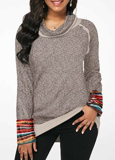 c3e47ef011085e Cowl Neck Patchwork Long Sleeve T Shirt