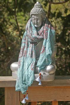 Seafoam Teal, Buddha and Ohm Yoga Scarf - Scarf, Sarong, Shawl, Headband, Infinity Scarf, Neck Scarf, India, Table Scarf, Buddhist, Altar