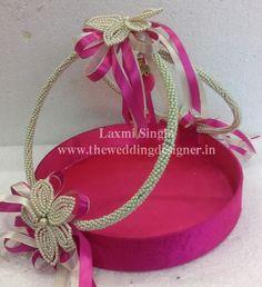 Indian Weddings · Basket Decoration · pink gift basket & turkish engagement ring tray decoration ideas (11)   Tepsi   Pinterest
