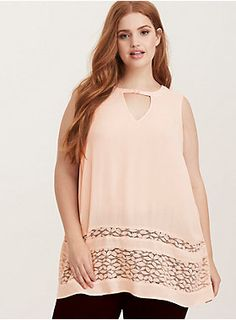 """Man, this top makes us feel like a <i style="""""""">woman</i>. Blush pink gauze - that's semi-sheer - is our most feminine yet, with a flowy fit that's effortless and lace trimming the longer-length hem that's totally game for flirting. The cutout neck - held in place by a sweet button - adds an element of surprise sexiness.<div><ul><li style=""""list-style-position: inside !important; list-style-type: disc !important"""">Size ..."""