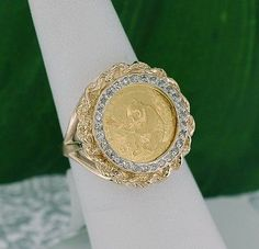 Solid 24KT 1991 1/20 oz Panda Coin w/ 14KT Yellow Gold Diamond Bezel Ring Size 6