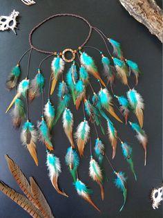 Feather Headpiece, Feather Hair Clips, Feather Jewelry, Hair Jewelry, Indian Headband, Boho Headband, Yarn Wall Art, Hippie Headbands, Feather Crafts