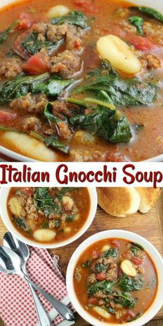 Italian Gnocchi Soup Recipe {Video} – Miss in the Kitchen Italian Gnocchi Soup is a quick and incredibly flavorful dinner that is perfect for busy weeknights – Don't miss the video! Best Soup Recipes, Chicken Soup Recipes, Healthy Recipes, Beef Broth Soup Recipes, Italian Dishes, Italian Recipes, Italian Foods, Italian Gnocchi, Gnocchi Recipes