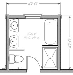 Small Bathroom Floor Plans with both tub and shower | Blueprint view Napoleon Master Bath Addition