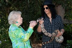 """Betty White, Slash and a snake going """"dude, I KNOW! take a picture!"""""""