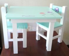 Paint Kids Table, Kids Table And Chairs, Kid Table, Pallet Furniture Designs, Kids Furniture, Painted Chairs, Painted Furniture, Diy Picnic Table, Diy Spa Day