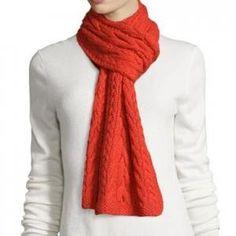 73% off Oscar de la Renta - Cashmere Cable-Knit Scarf Red - $417.50