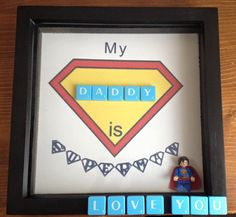 Father's Day frame Superman by Hannahsbaskets on Etsy Fathers Day Frames, 3d Frames, Shadow Box, Making Ideas, Superman, How To Make Money, Unique Jewelry, Handmade Gifts, Pictures