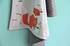 woodland scene minky blanket: a little light prints collaboration