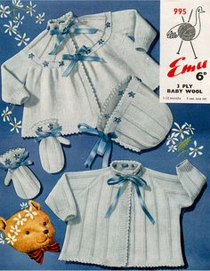 Vintage Baby Clothes Knitting Patterns from The Vintage Knitting Lady Beginner Knitting Patterns, Knitting For Beginners, Chevron Crochet, Knit Crochet, Knitted Baby, Baby Patterns, Knit Patterns, Baby Cardigan Knitting Pattern, Vintage Baby Clothes