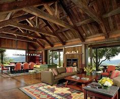 A Northern California Home Adds Rustic Flair to a Private Winery Designer Nicole Hollis separated the dining and living areas with a Reinhard von Nagel harpsichord. An antique quilt inspired the custom Tufenkian rugs. Holly Hunt sofa leather and linen. Cabin Homes, Log Homes, California Homes, Northern California, Valley California, California Style, Pole Barn Homes, Architectural Digest, Wine Country
