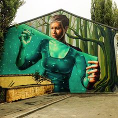 by Sweet Damage Crew in Bucharest, Romania, 2016 (LP) Murals Street Art, 3d Street Art, Street Art Graffiti, Mural Art, Wall Murals, Street Installation, Spanish Artists, Popular Art, Picture Credit