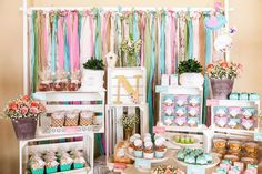 Aqua, Pink And flowers  Baptism Party Ideas | Photo 19 of 20