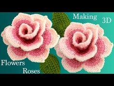 Como hacer flores rosas de colores en con hojas a Crochet en punto tunecino // Галушка Лариса Crochet Flower Tutorial, Crochet Flower Patterns, Crochet Flowers, Modern Crochet, Love Crochet, Beautiful Crochet, Tunisian Crochet, Irish Crochet, Crochet Stitches