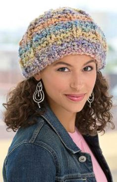 Soft Pastel Knit Hat Free Knitting Pattern from Red Heart Yarns