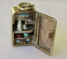 Large Refrigerator and Food Enamel Gold Charm Opens