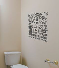 Bathroom Rules Wall Decal   Bathroom Decal   Bedroom Wall Decal   Wall  Quotes   Wall